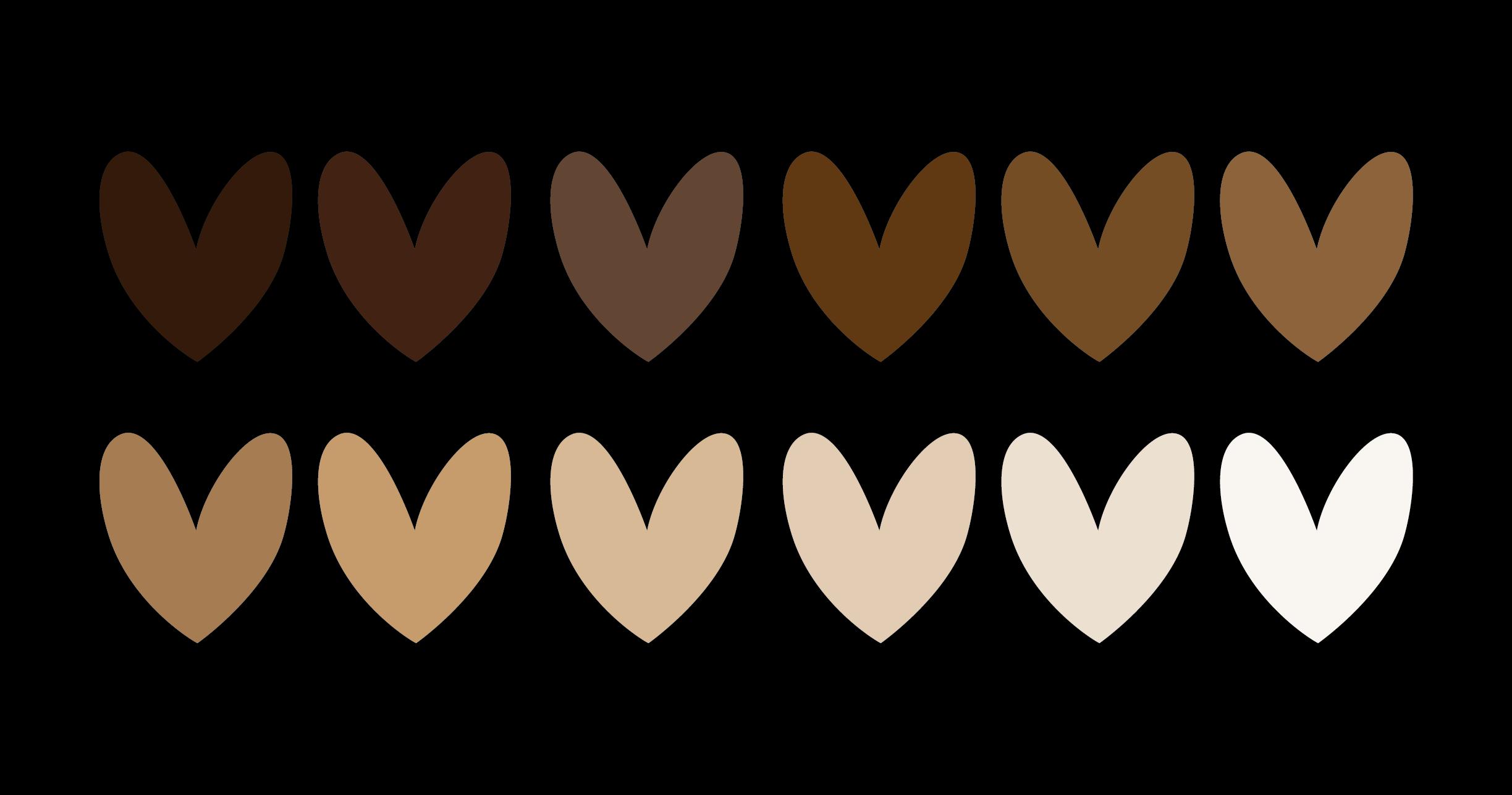 Herzen in verschiedenen Hautfarben